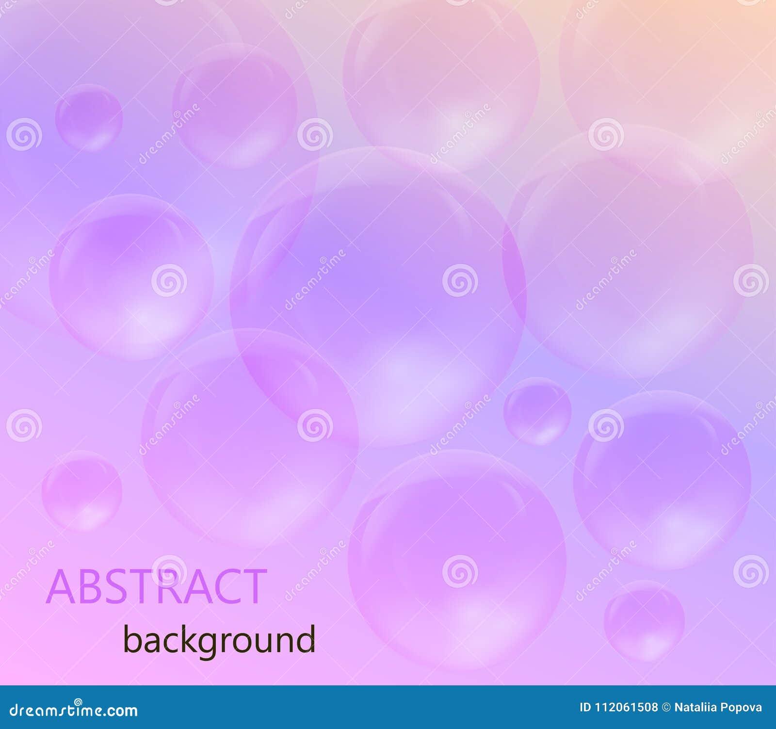 Bulles de savon transparentes sur un fond rose et pourpre
