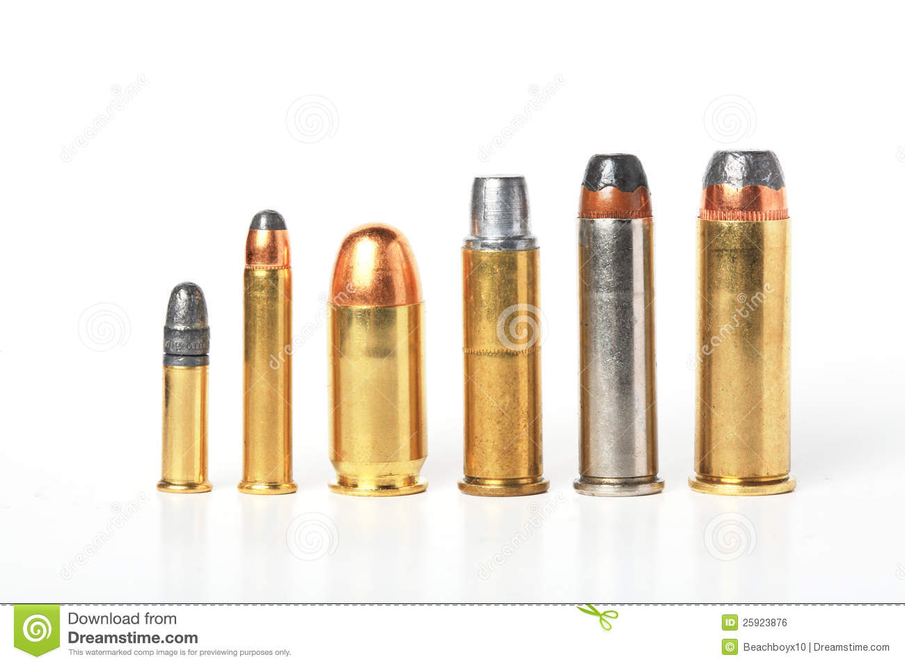 Bullet Ammo Size Compare Stock Photo Image Of Round