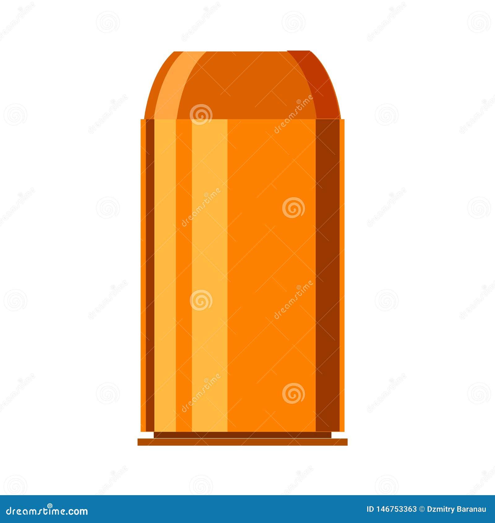 Bullet ammunition illustration object defense. Vector copper power ammo flat icon