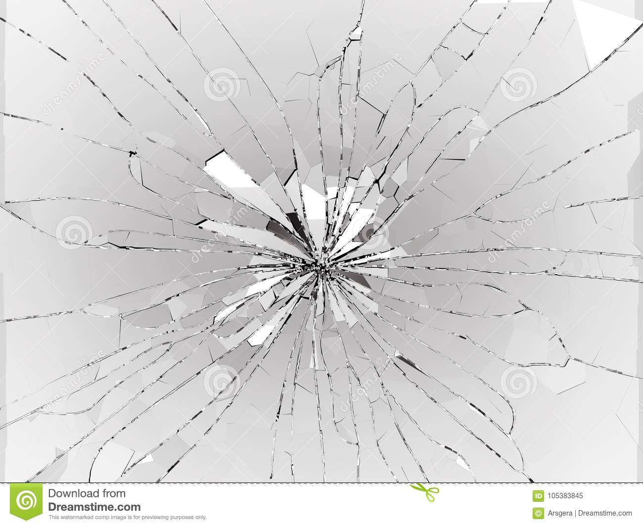 Bullet Hole Cracked And Shattered Glass On Black Stock