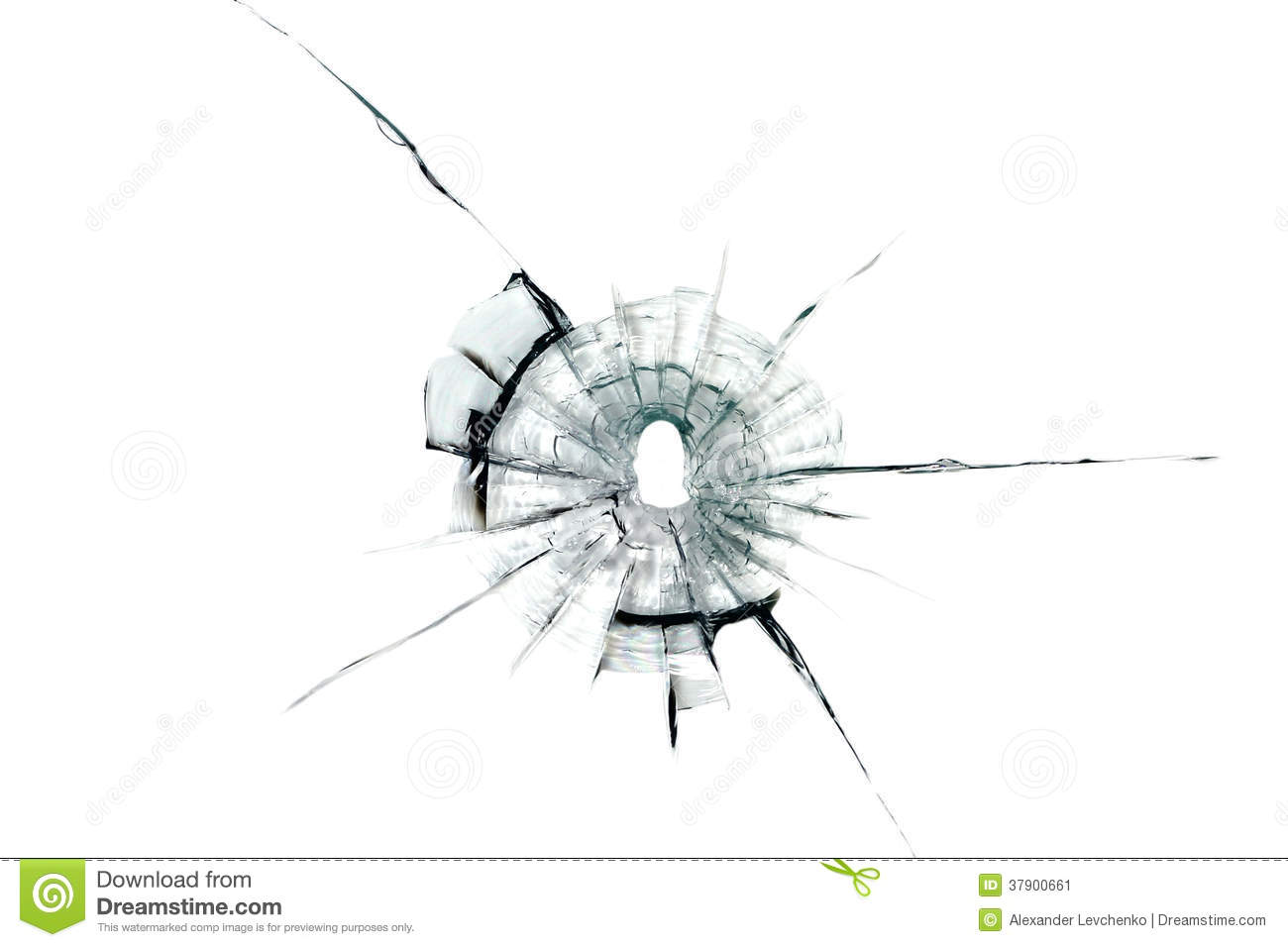 Bullet Hole In Glass Stock Image Image 37900661