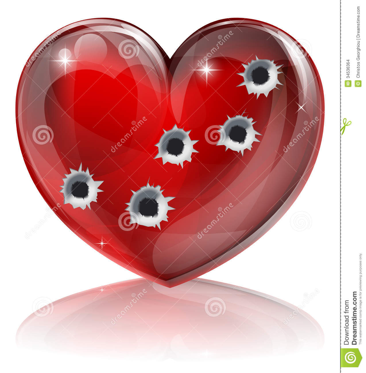 of a heart shaped icon with bullet holes. Concept for broken heart ...