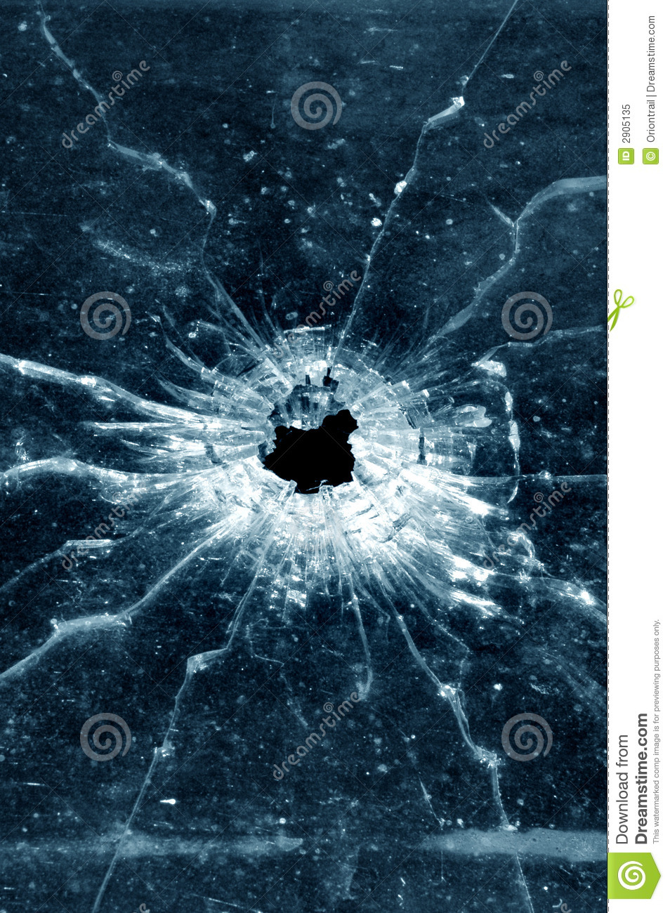 Bullet hole in window
