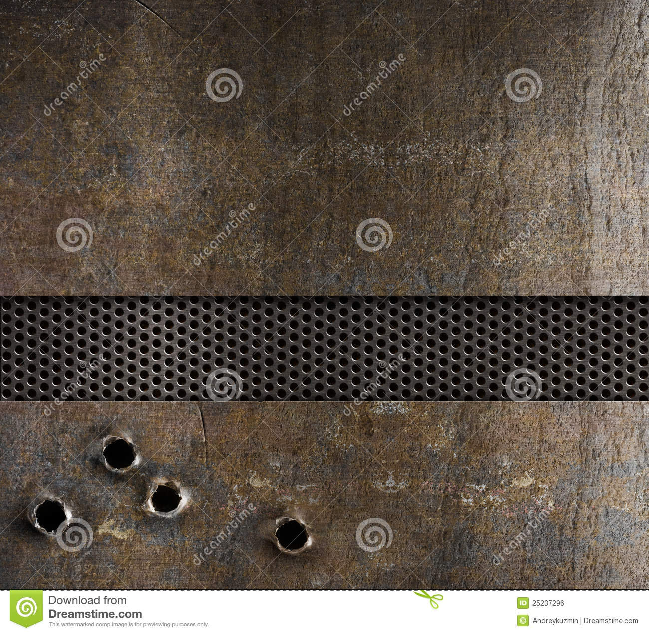 Bullet Holes In Metal Background Stock Photo Image Of