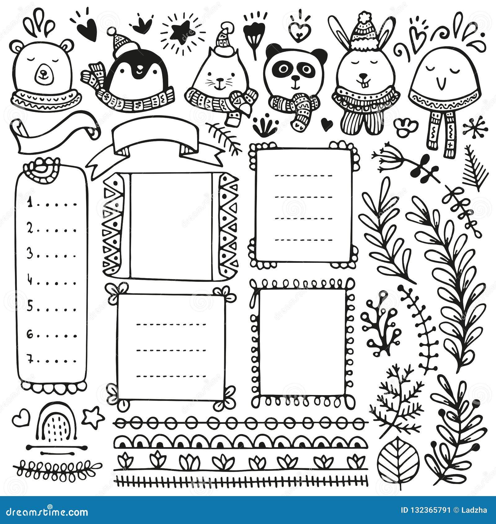 Bullet Journal Hand Drawn Vector Elements Stock Vector