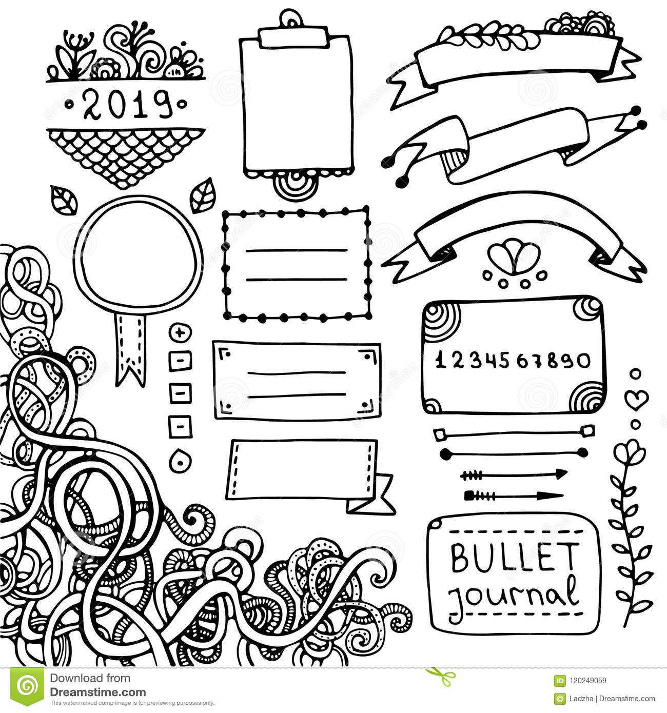 Doodle Elements For Bullet Journal Stock Vector