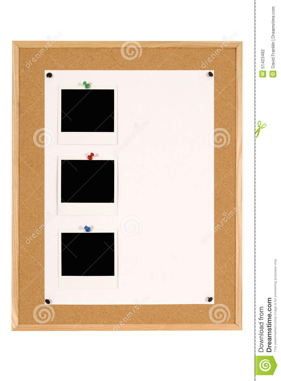 Vertical Row Of Three Polaroid Photo Frames On Notice Board With ...
