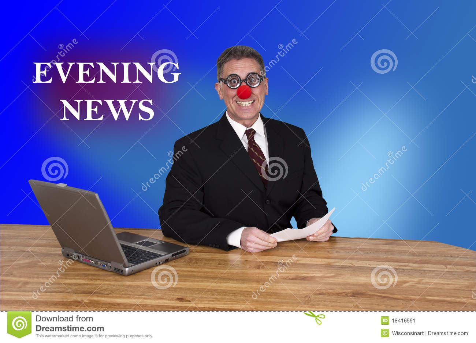 Bulletin d informations de journaliste d homme de point d attache de clown d Evening News de TV