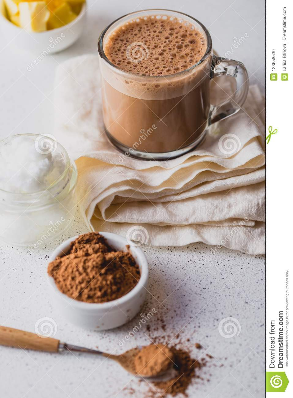 BULLETPROOF CACAO. Ketogenic keto diet hot drink. Cacao blended with coconut oil and butter. Cup of bulletproof cacao