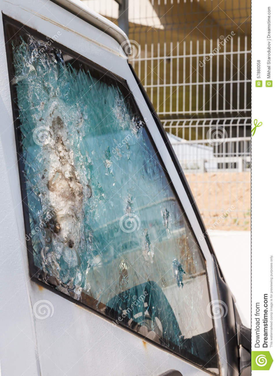 Bulletproof Glass Car After The Shooting Stock Photo - Image