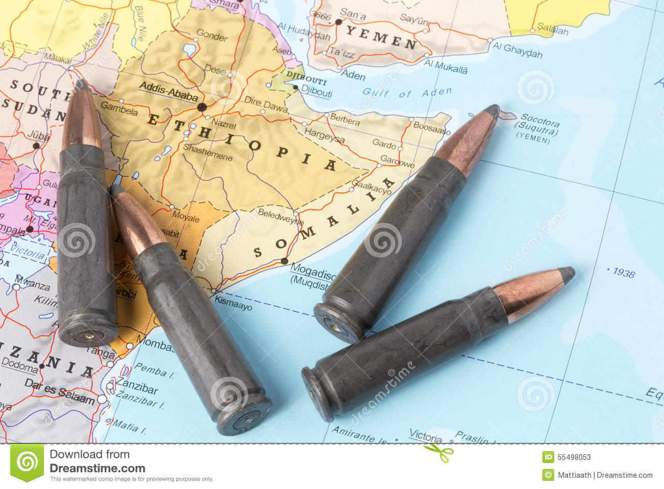 Bullets on the map of Ethiopia and Somalia