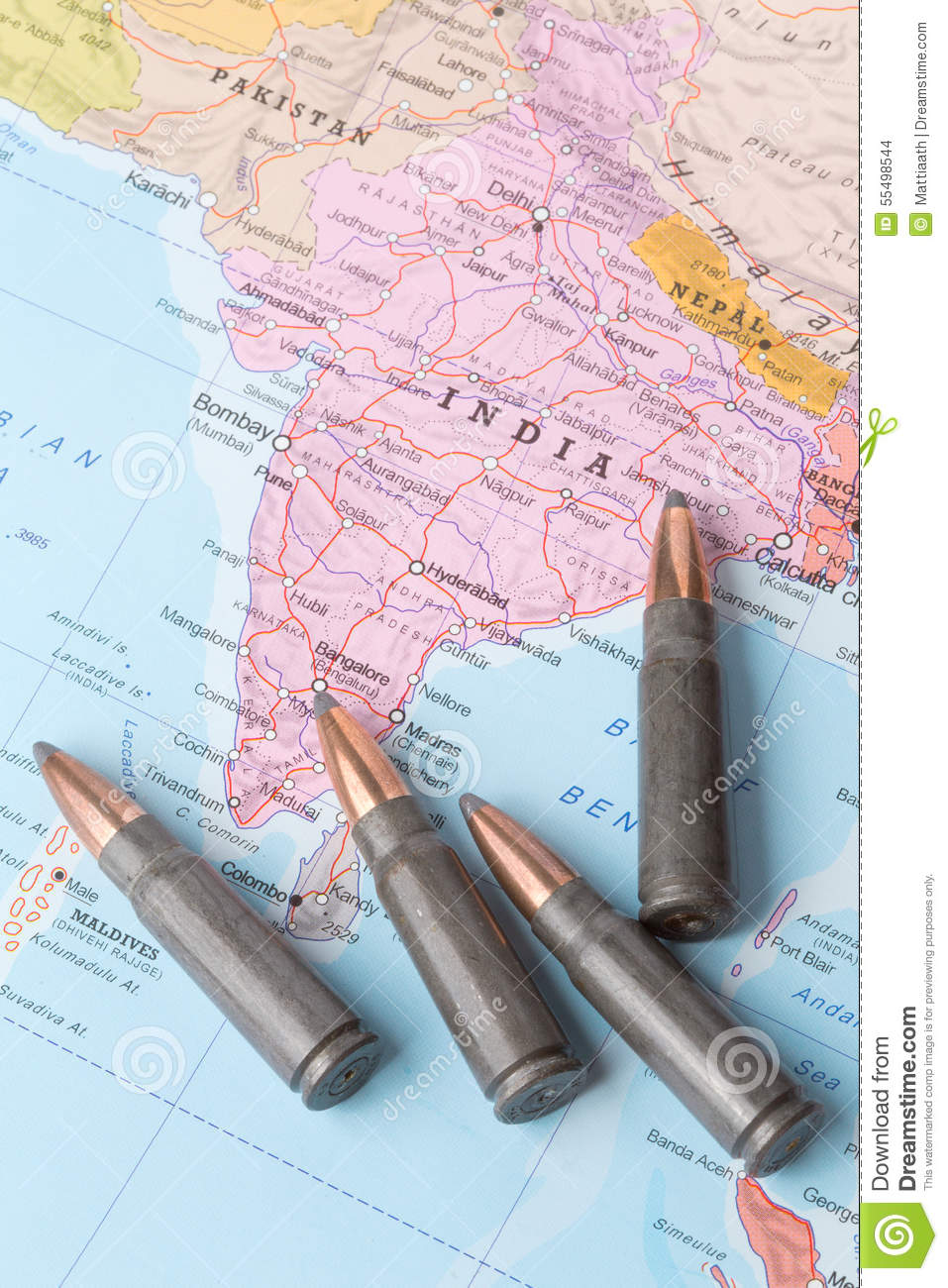 Bullets On The Map Of India Stock Photo Image Of Earth Army 55498544