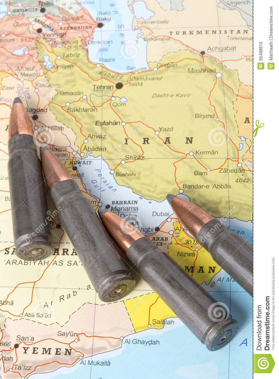 Bullets on the map of Iran stock photo Image of tour 55498610