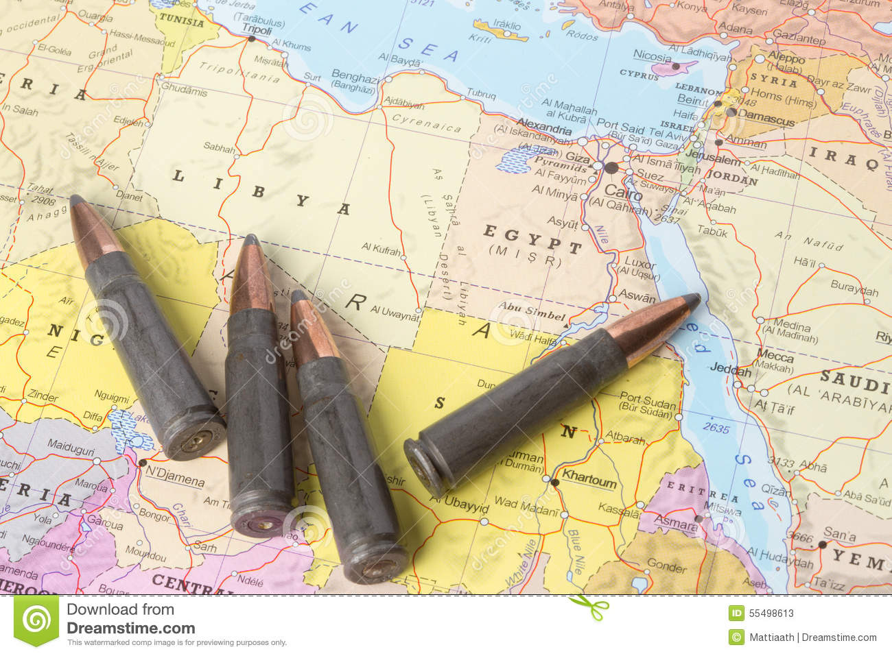 Bullets On The Map Of Libya And Egypt Stock Photo Image - Map of egypt libya