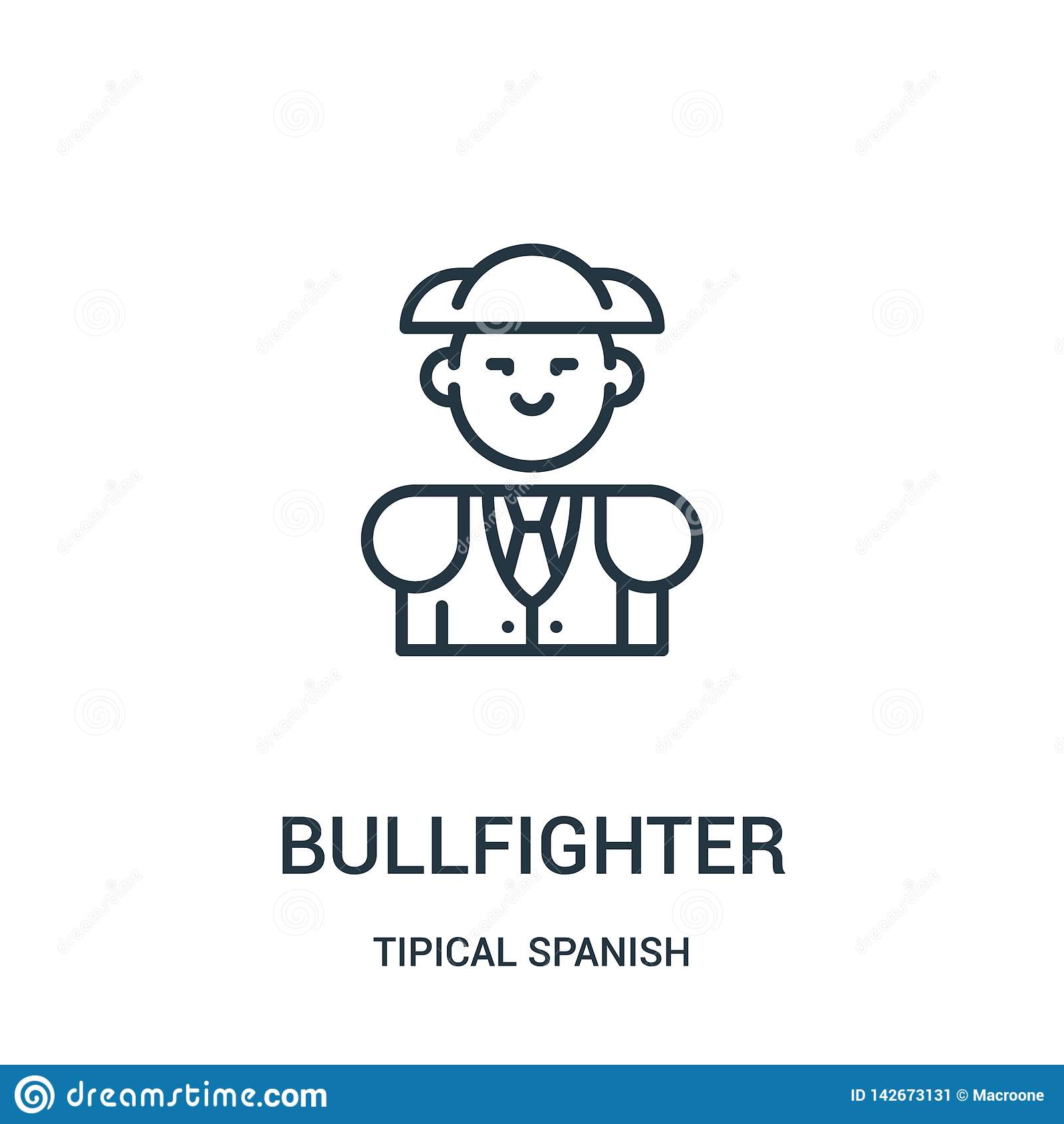 Bullfighter ikony wektor od tipical hiszpańskiej kolekcji Cienka kreskowa bullfighter konturu ikony wektoru ilustracja Liniowy sy