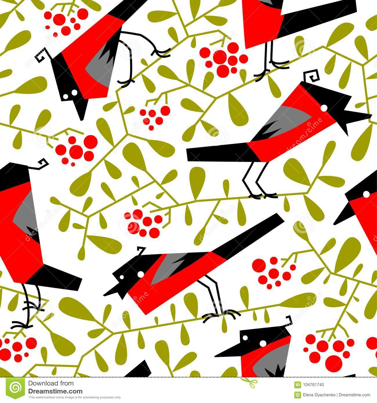 Bullfinch seamless pattern in flat simple style. Doodle floral b