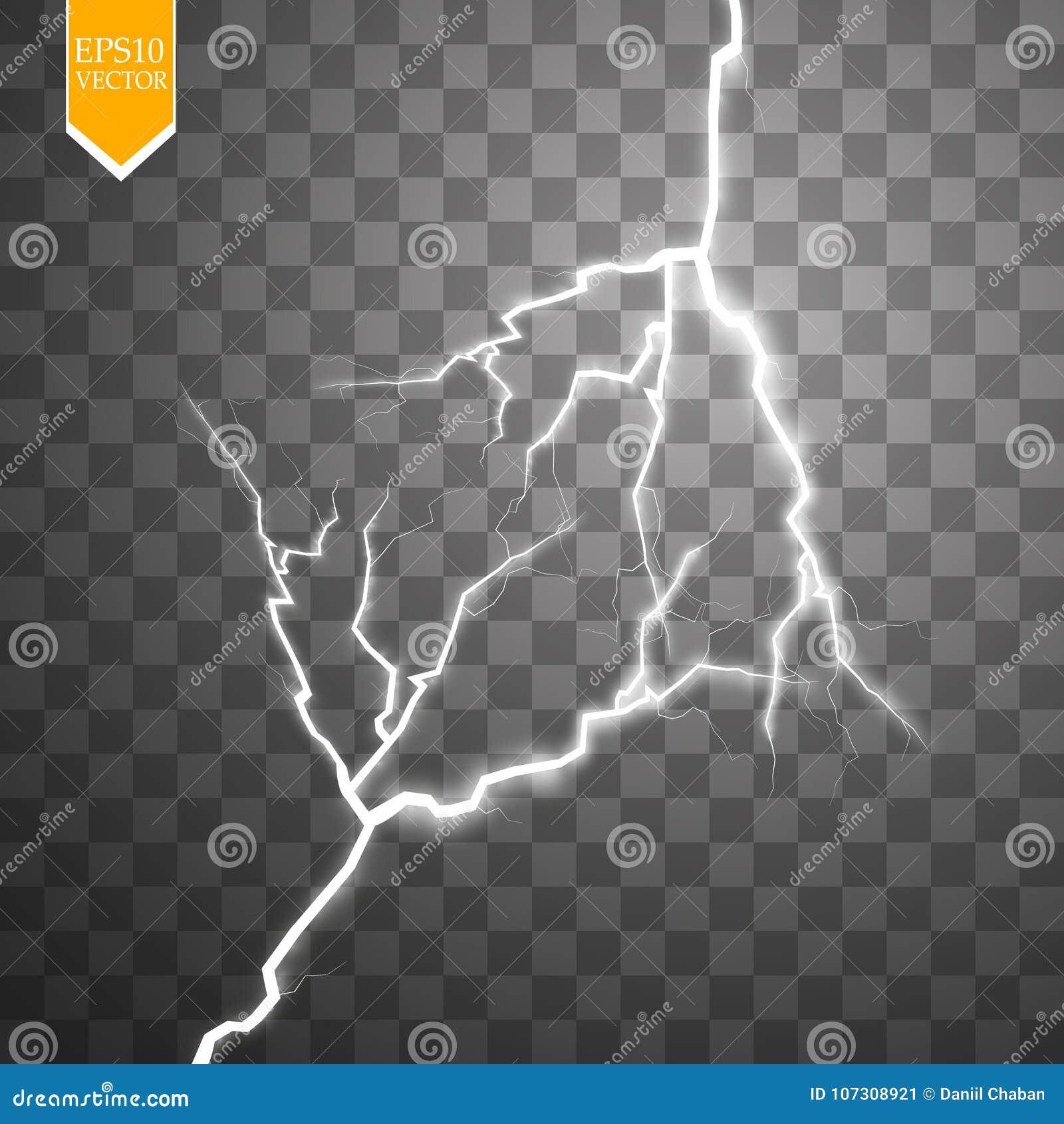 Bullone di fulmine elettrico di vettore Effetto di energia Chiarore e scintille della luce intensa su fondo trasparente