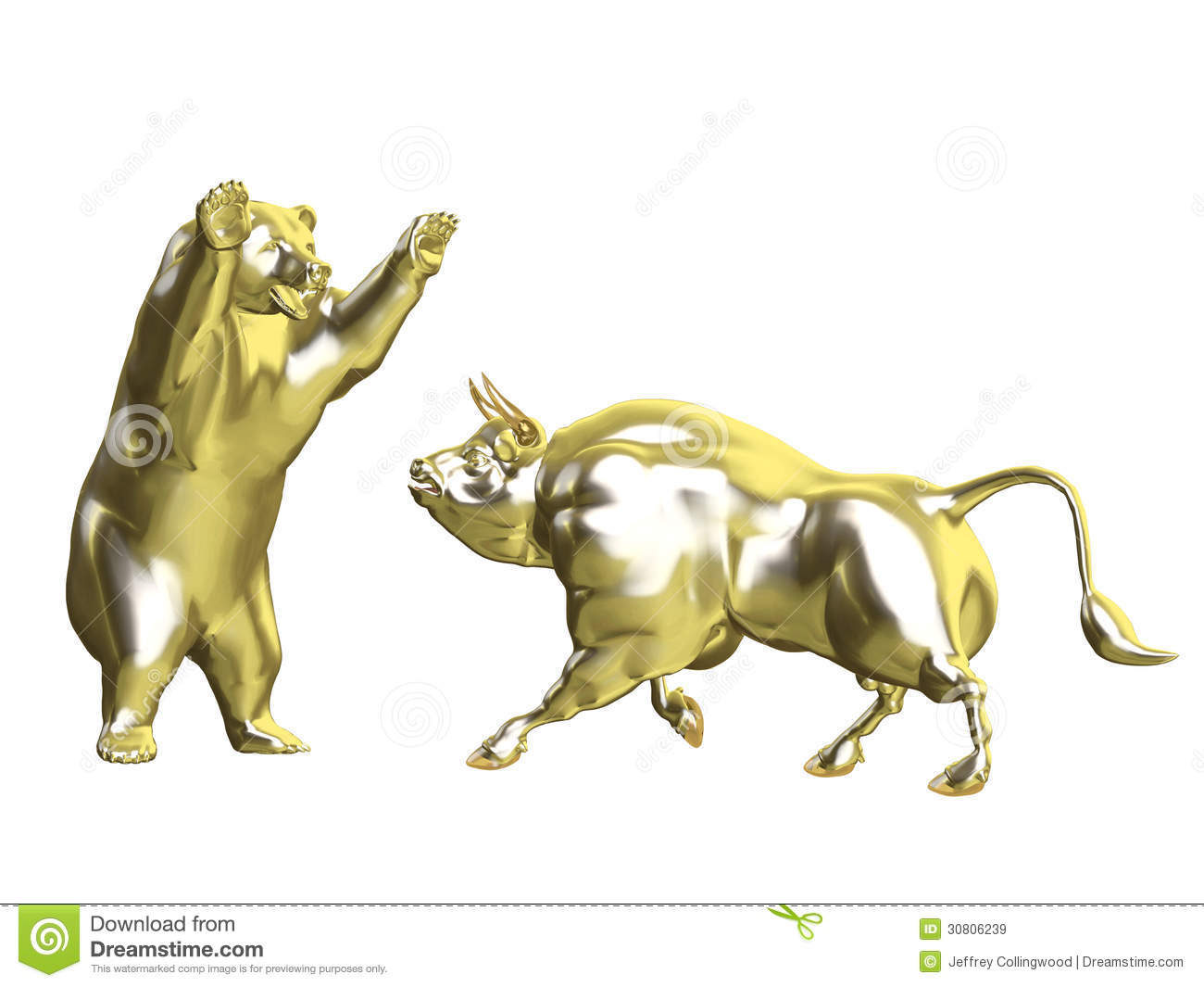 Bulls Vs Bears Gold Market Stock Illustration Image