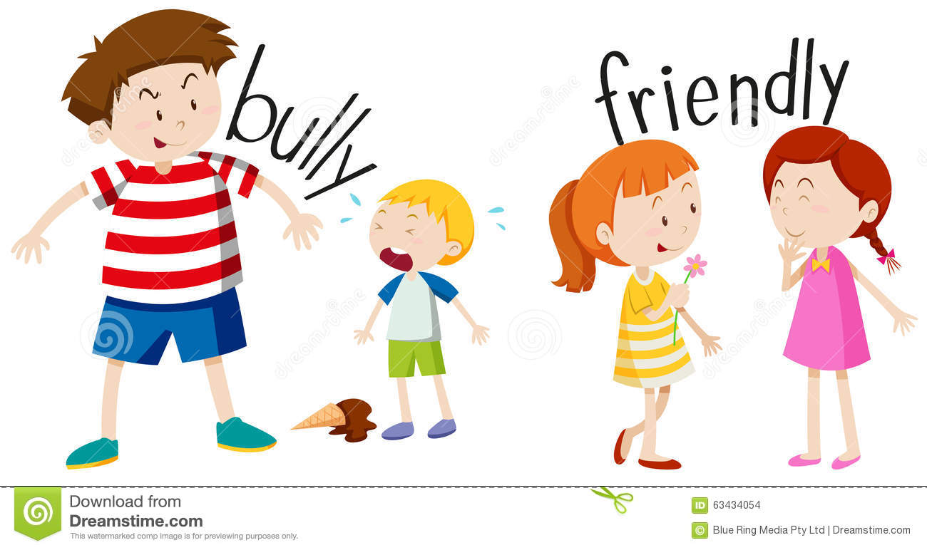 bully boy and friendly girl stock vector illustration of kids