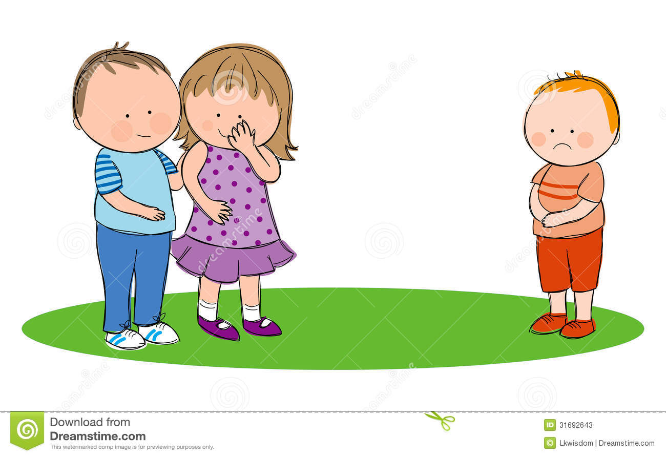 Hand drawn picture of children bullying another child, illustrated in ...