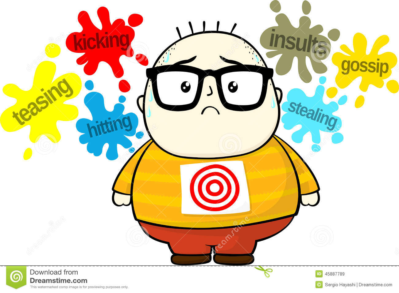 Stressed little fat boy target for bullies isolated on white ...