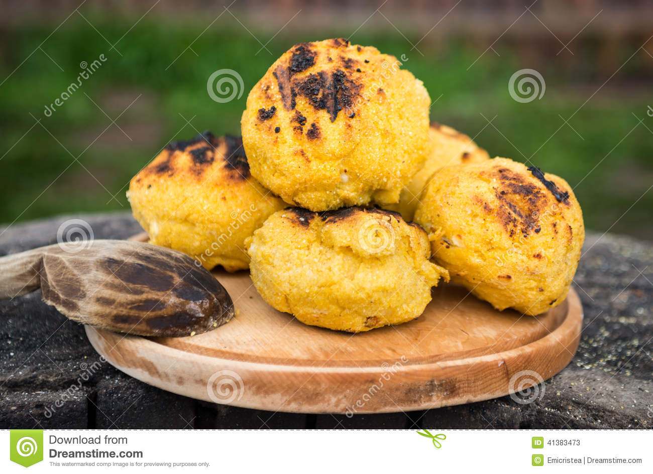 Bulz, romanian grilled polenta with cheese