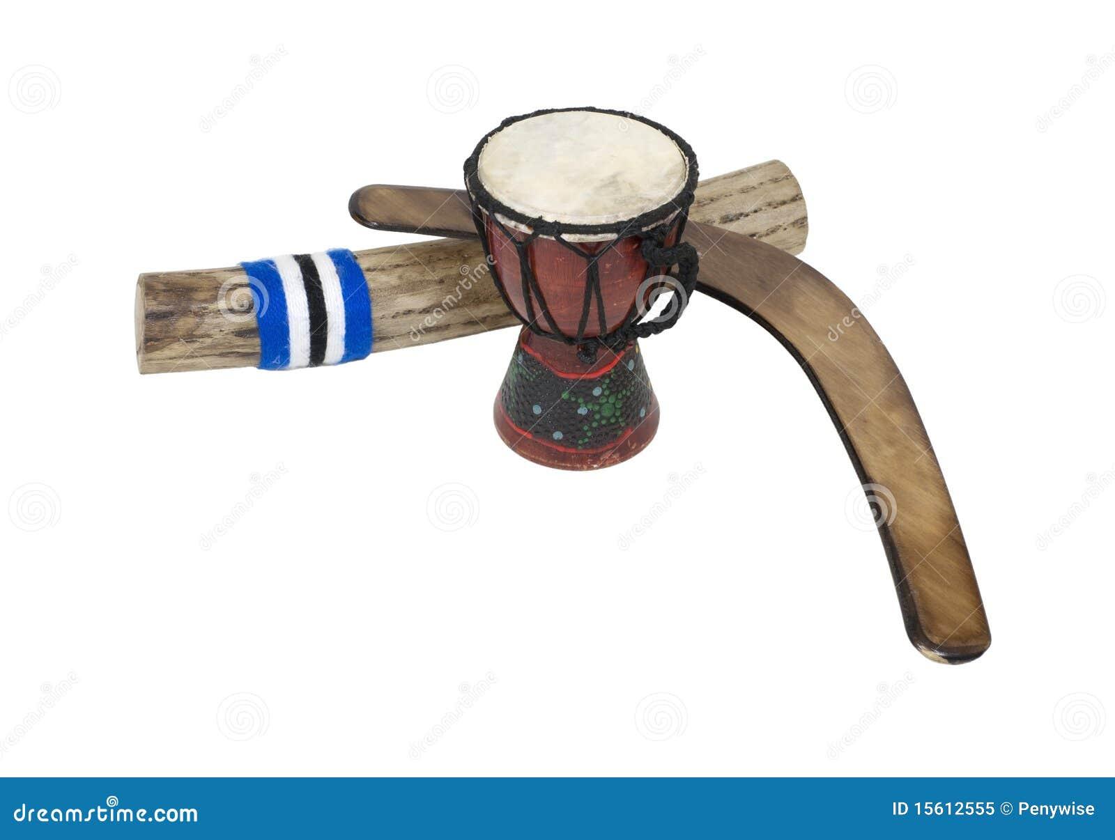 Bumerang, tambor y Rainstick