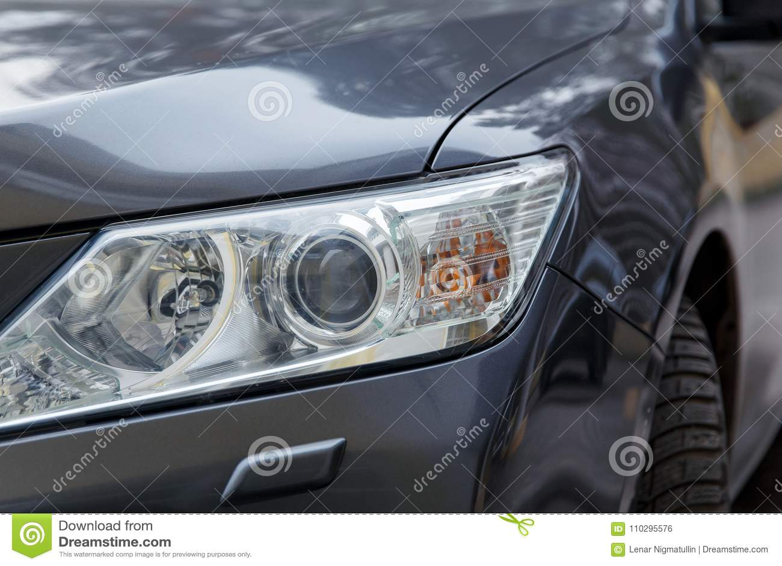 Bumper Black New Car Headlamp Glossy Coating Stock Photo Image