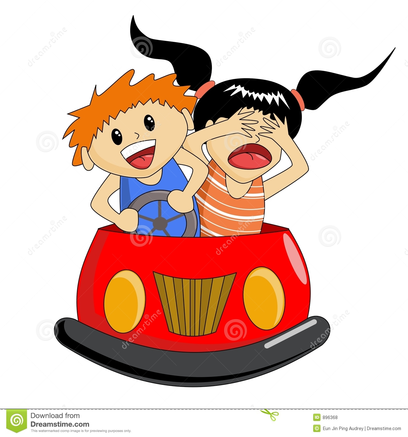 Bumper Car Ride Stock Vector. Image Of Couple, Ponytail