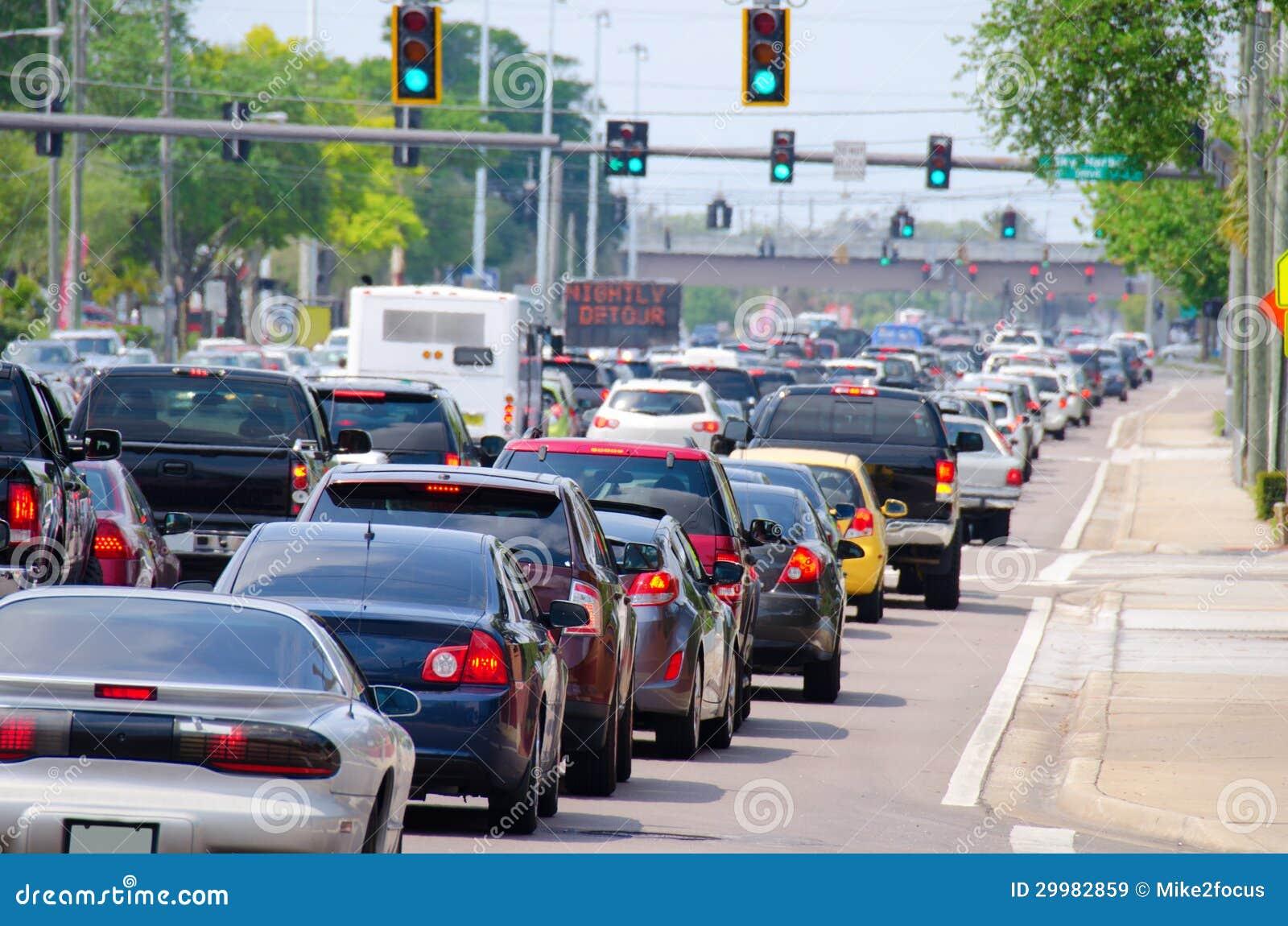 Traffic Lights With Rush Hour Traffic Jam Royalty Free