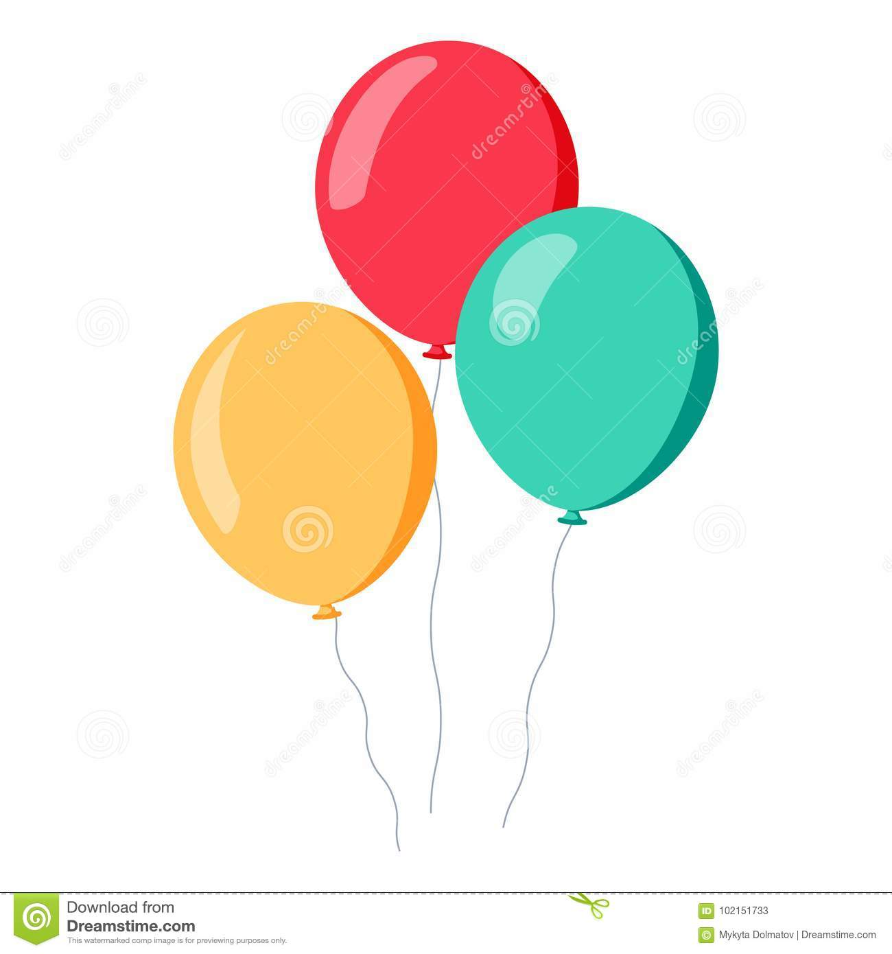 9dfc1ce37 Bunch Of Balloons In Cartoon Flat Style Isolated On White Background ...