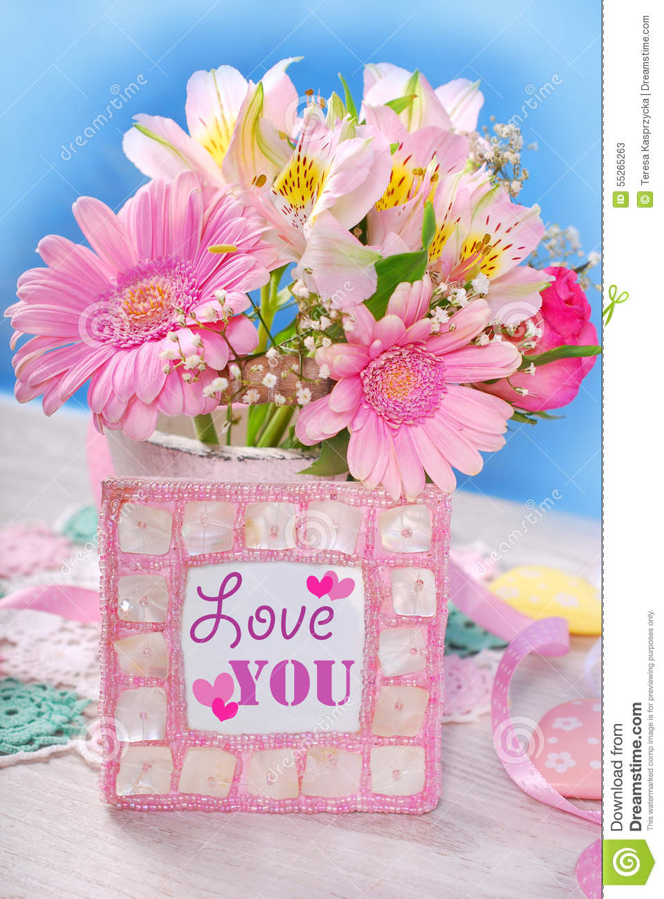 Bunch Of Beautiful Pink Flowers And Frame With Text Stock Image