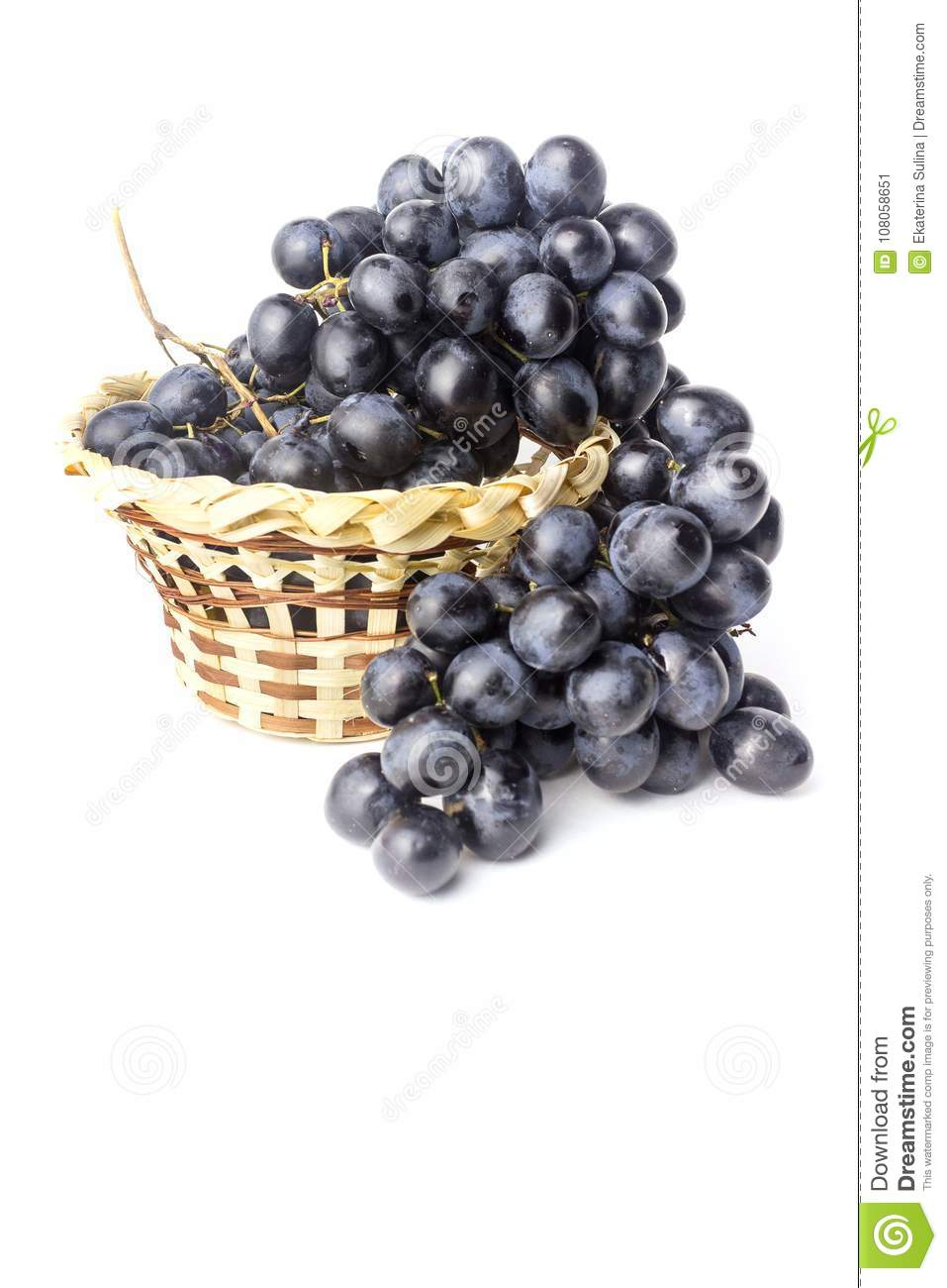 A bunch of blue grapes in a basket isolated on a white background