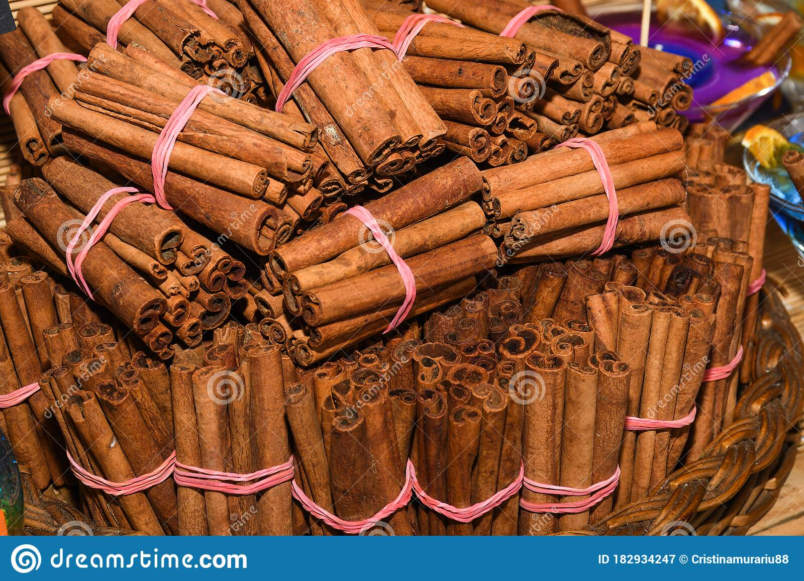 Bunch Of Cinnamon Sticks For Sale On Counter Top At The ...