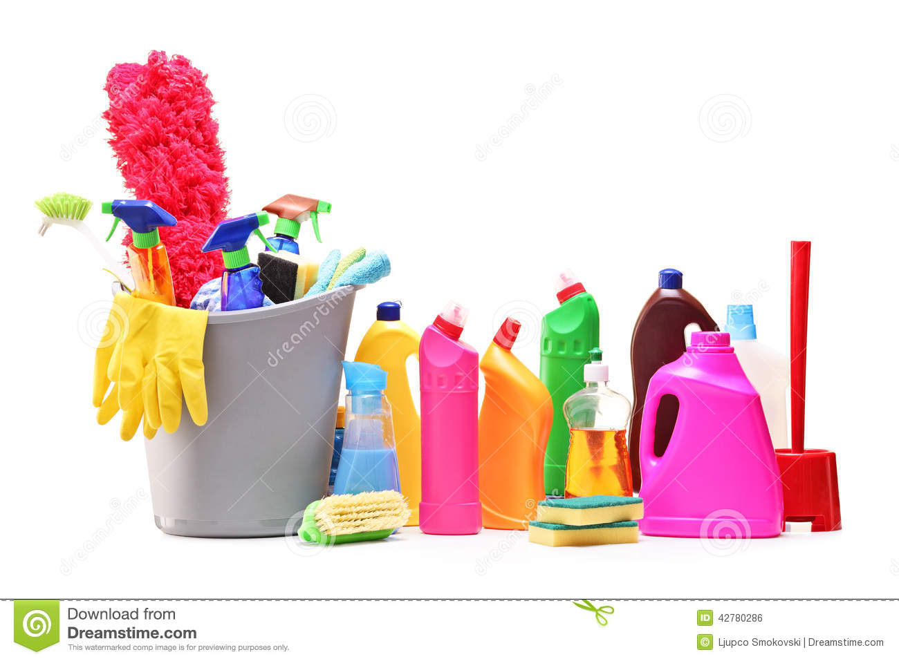 Bunch Of Cleaning Products On White Background Stock Photo