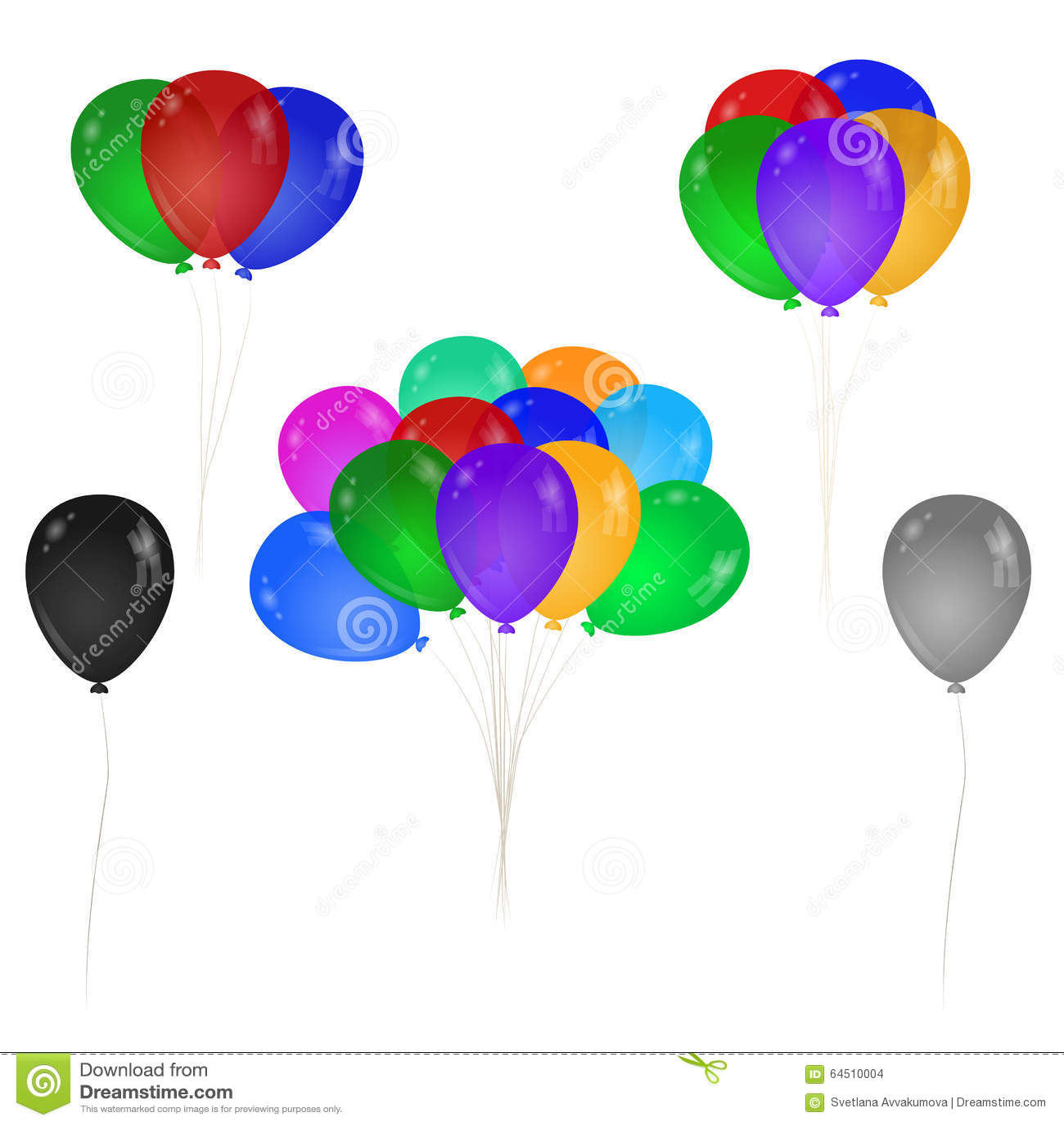 A bunch of colorful balloons. Single balloon.