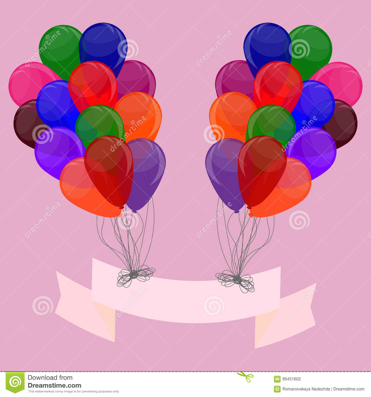 bunch of colorful balloons template for decorating postcard ba
