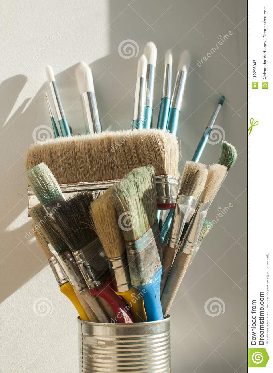 A Bunch Of Paint Brushes Stock Image Image Of Container 112296047