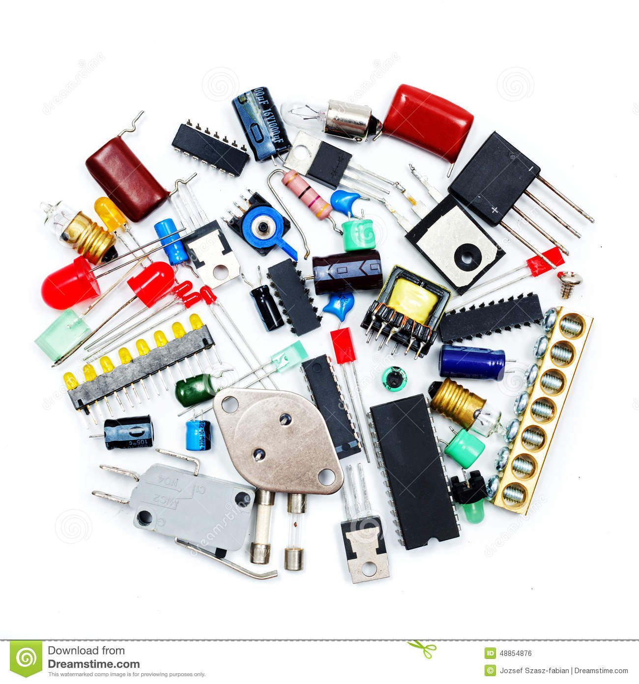 Bunch Of Electronic Components Stock Photo