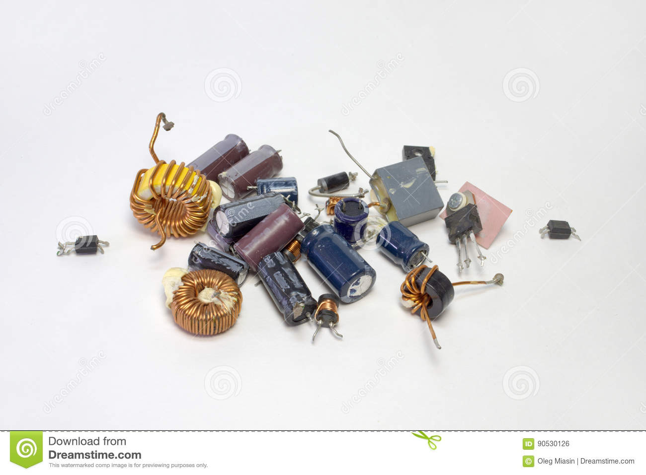 Bunch Of Electronic Parts Capacitors Transistors Inductors Stock Coils Copper Wire Are Commonly Used In Electrical