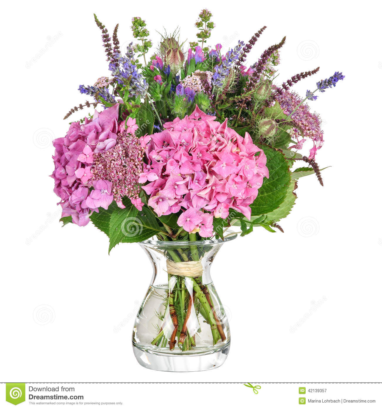Mazzo Di Fiori Con Ortensie.Bunch Of Flowers With Hydrangea And Herbs Stock Image Image Of