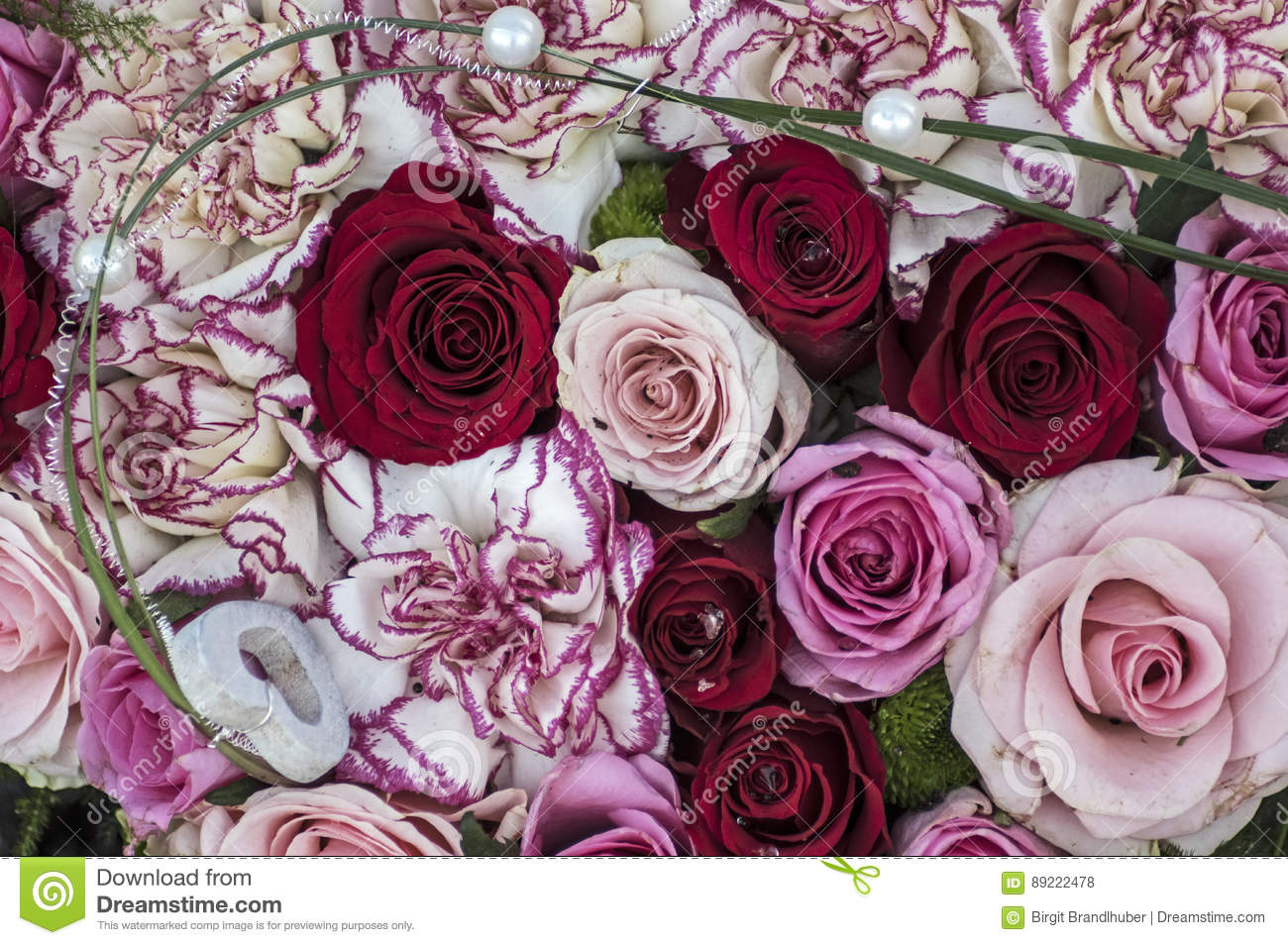Bunch Of Flowers In Red And Pink Stock Photo Image Of Gift