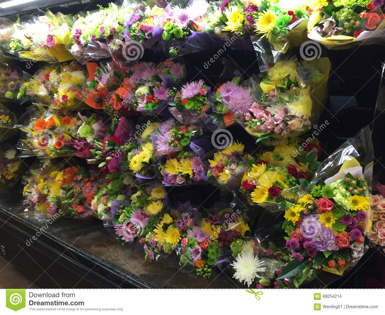 Bunch Of Flowers Selling At Supermarket Stock Photo - Image
