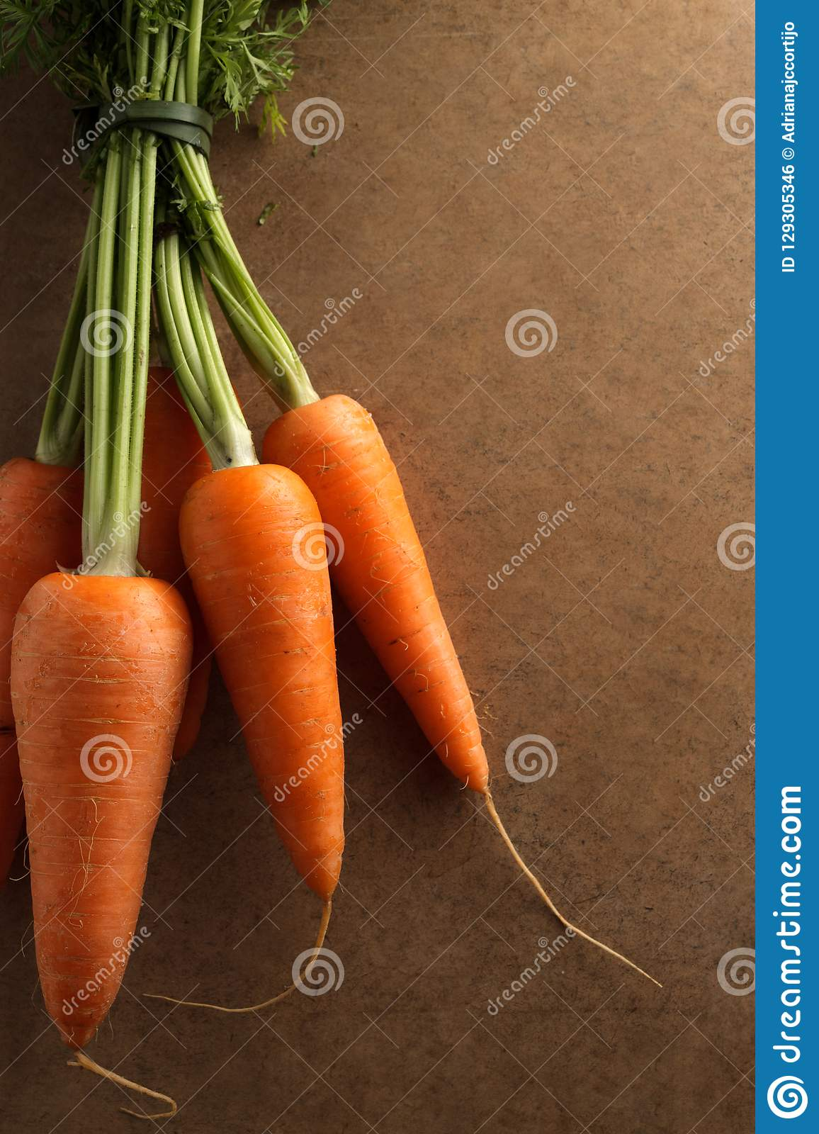 A bunch of fresh carrots.
