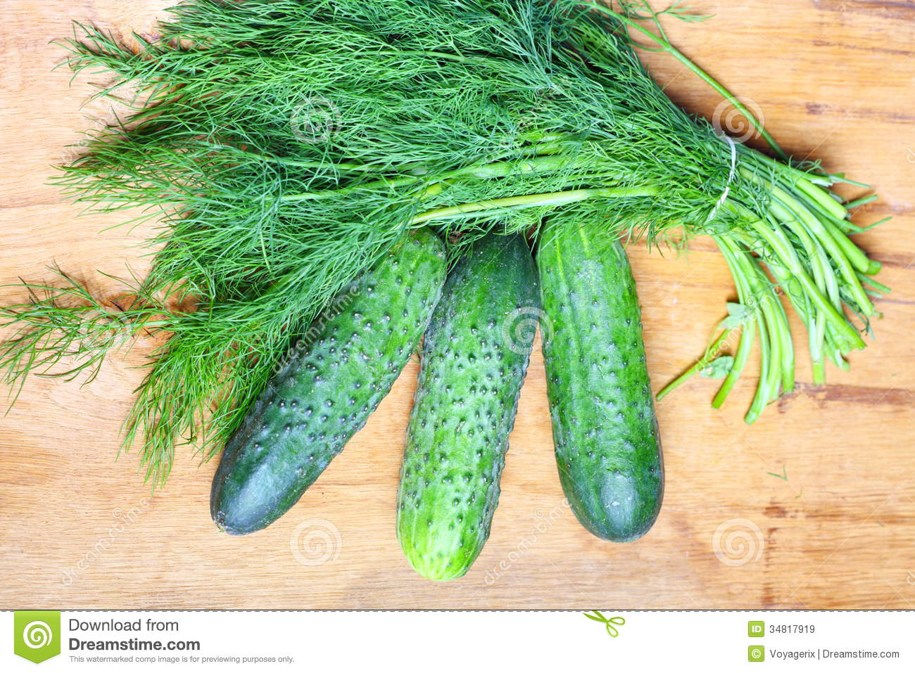 Bunch Fresh Dill And Cucumbers On Wooden Table Stock Image ...