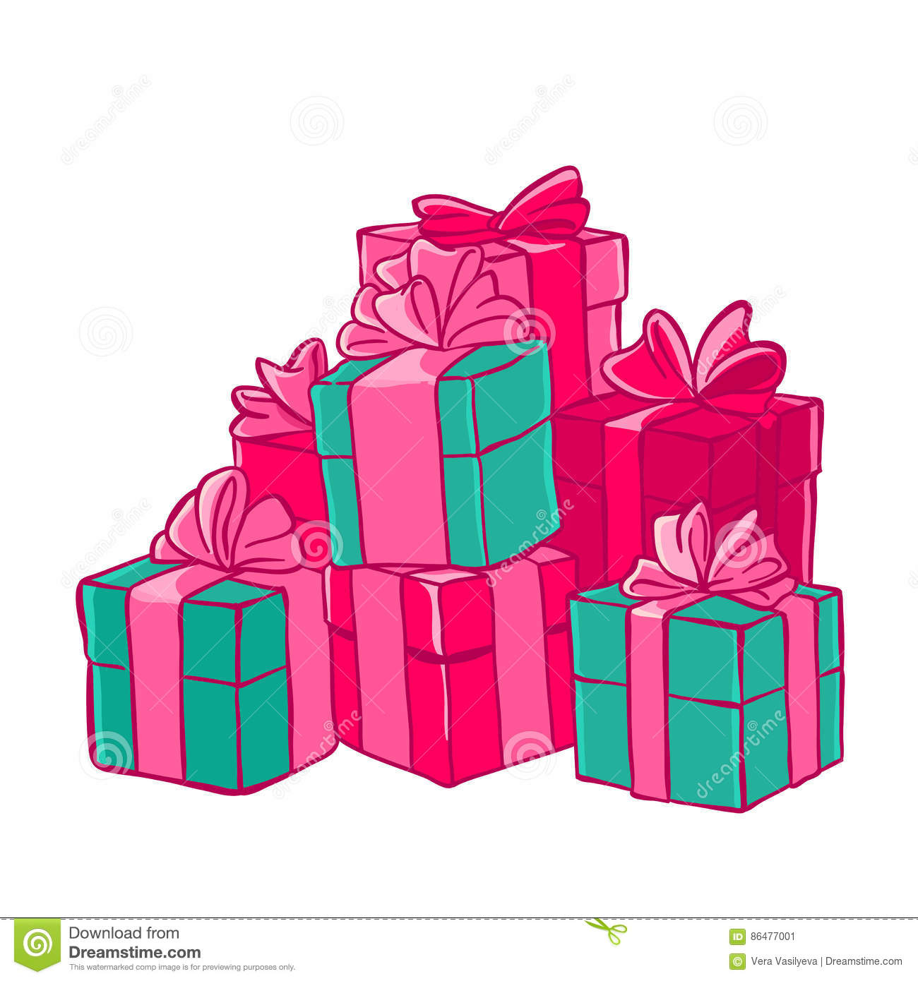 Bunch Of Gifts Boxes With Bows Festive Packaging Vector
