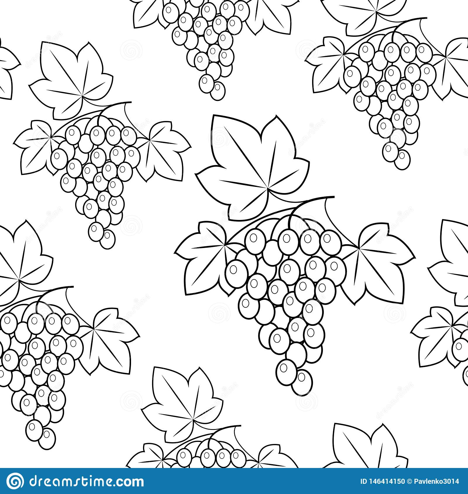 Bunch of grapes on a green background. Beautiful pattern. Gift wrap. Vector illustration
