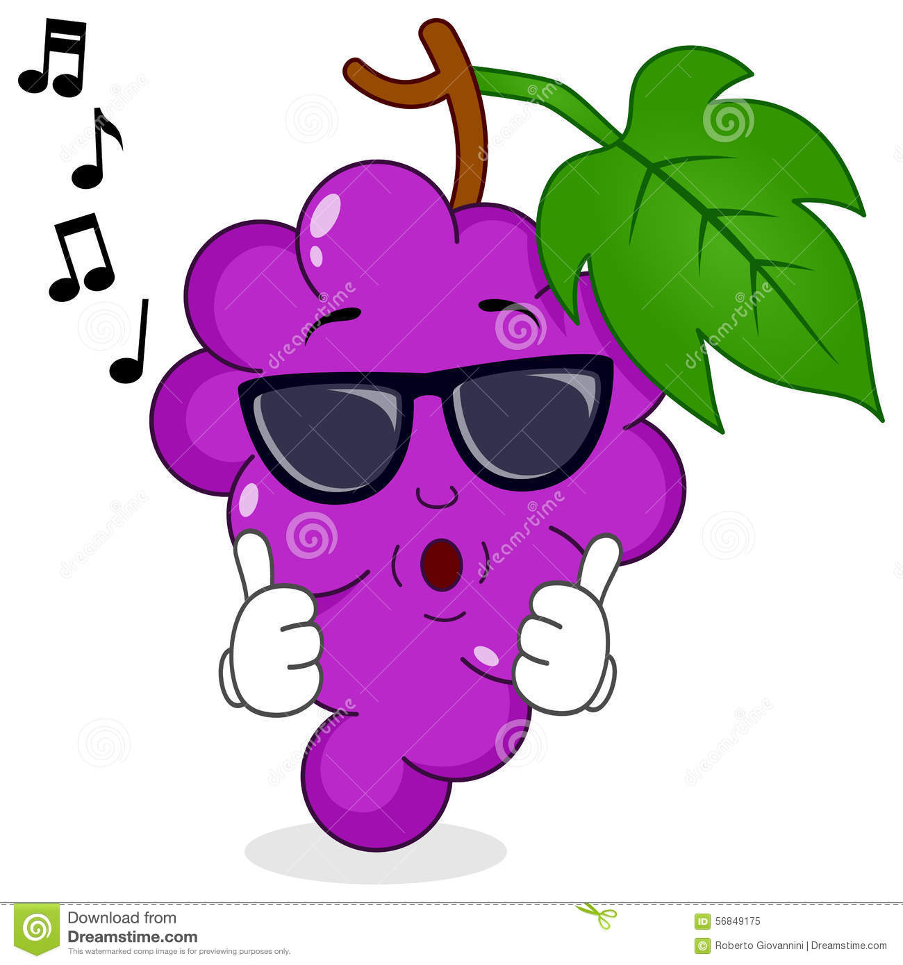 Bunch Of Grapes Whistling With Sunglasses Stock Vector - Image ...