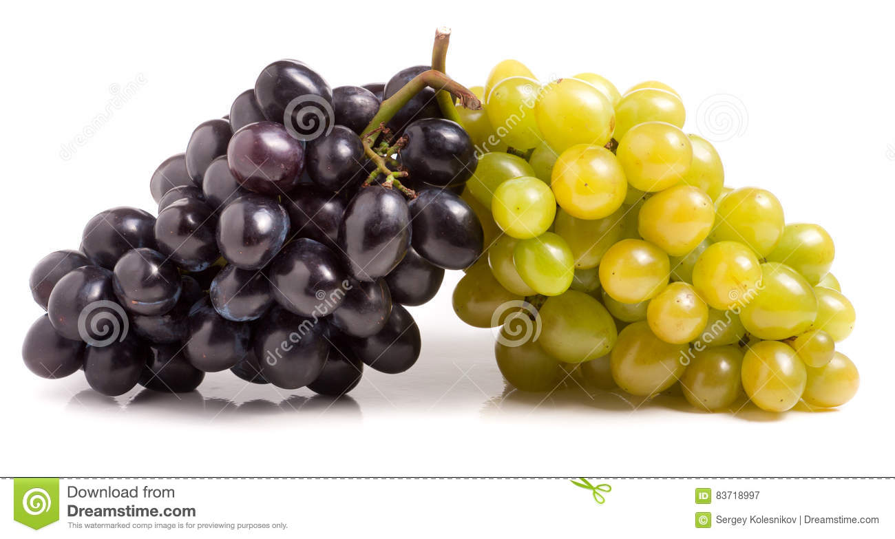 Bunch of green and blue grape isolated on white background