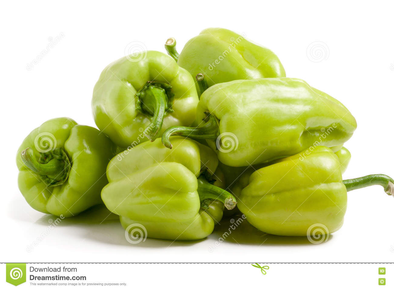 Bunch of green peppers isolated on white background